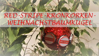 Red Stripe-Kronkorken-Weihnachtsbaum-Kugel